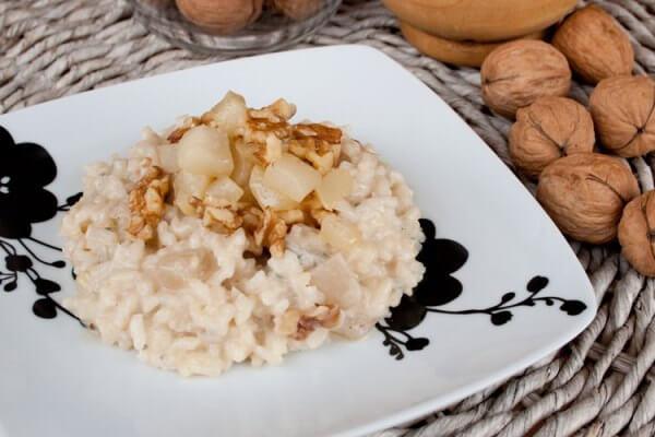 cómo preparar risotto con peras y nueces